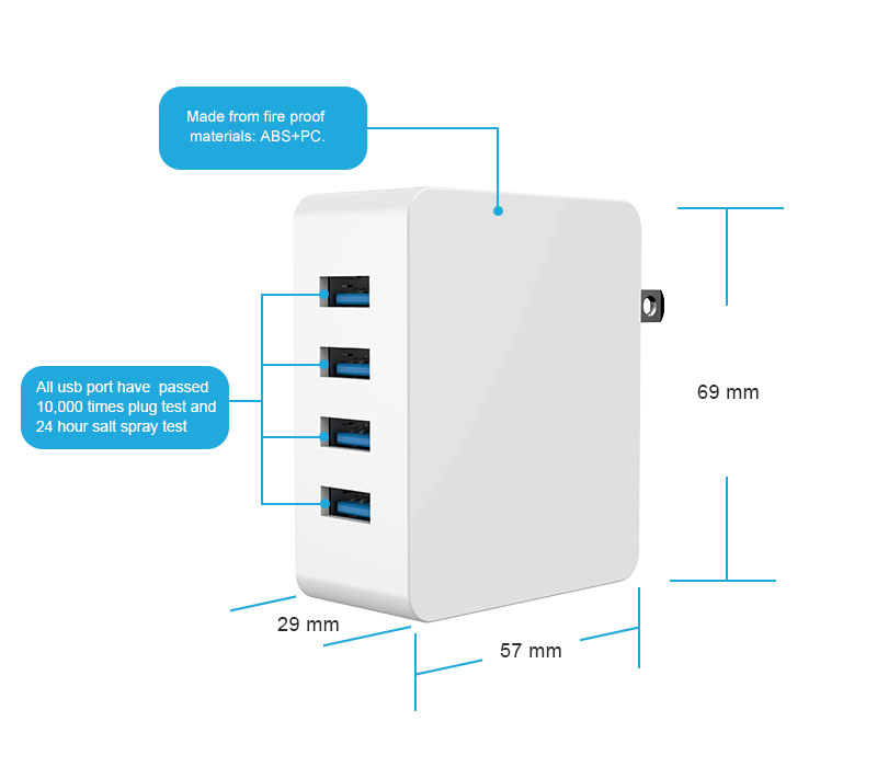 4-Port USB Wall Charger Specifications