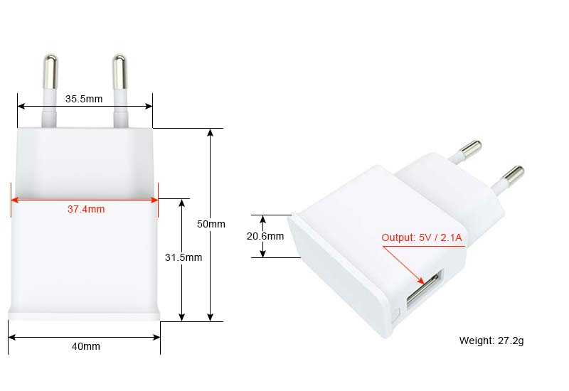 mobile phone travel charger 5v 2 1a with single usb